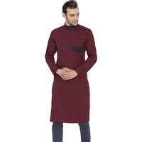 Raas Men Wine Cotton with Pocket Detail Straight Kurta (Color: Wine Red, Size: S)