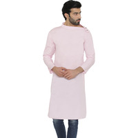 Raas Men Pastel Pink Cotton Asymmetric Collar Straight Kurta (Color: Light Pink)