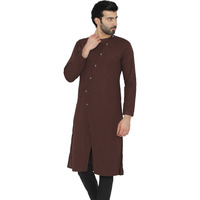 Raas Men Brown Cotton Angrakha Straight Kurta (Color: Brown)