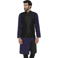Raas Men Black with Blue detail Waistcoat (Color: Black, Size: S)