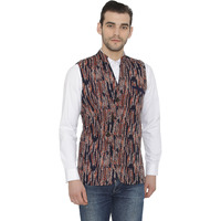 Raas Men Blue Printed Overlap Waistcoat (Color: Blue, Size: S)