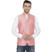 Raas Men Light Pink Overlap Waistcoat (Color: Light Pink, Size: S)