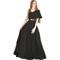 Raas Women's Black Crepe Flared Cut-Out Dress (Color: Black)