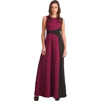 Raas Women's Burgundy Asymmetric Styling Maxi Dress (Color: Wine Red, Size: XS)