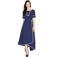 Raas Women's Navy Blue Wrap Dress (Color: Navy)