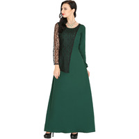 Raas Women's Dark Green Crepe Full Sleeve Flared Maxi Dress (Color: Green, Size: XS)