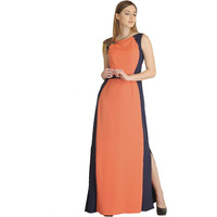 Raas Women's Coral Orange with Navy Blue Panelled Dress (Color: Orange, Size: XS)