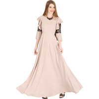Raas Women's Beige Ruffled Bell Sleeves Flared Dress (Color: Cream, Size: XS)