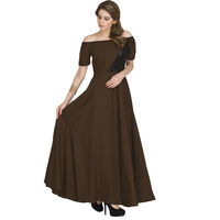 Raas Women's Chocolate Brown with Black Off Shoulder Flared Dress (Color: Brown, Size: XS)