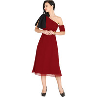 Raas Women's Maroon with Black Lace Bow One Shoulder Midi Dress (Color: Maroon)