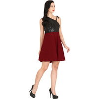 Raas Women's Maroon Black Short Flared Dress (Color: Maroon, Size: XS)