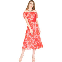 Raas Women's Red and Pink Off-Shoulder Midi Dress (Color: Red, Size: XS)