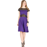 Raas Women's Purple with Black Lace Flared Dress (Color: Purple)