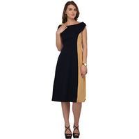 Raas Women's Navy Blue Beige Off Shoulder Colorblock Midi Dress (Color: Navy)