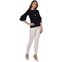 Raas Women's  Navy Blue Cotton Ruffle Bell Sleeves Top (Color: Navy)