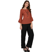 Raas Women's Brownish Solid Bell Sleeve Top (Color: Brown)