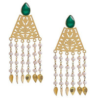 Gold Plated Green Triangular Sterling Silver Drop Earrings By Silvermerc Designs