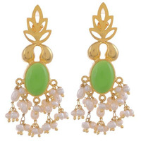 Gold Plated Green Floral Sterling Silver Drop Earrings By Silvermerc Designs