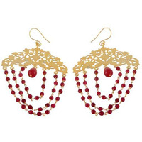 Gold Plated Red Sterling Silver Floral Drop Earrings By Silvermerc Designs