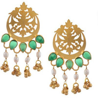 22-Karat Gold-Plated & Green Sterling Silver Classic Drop Earrings By Silvermerc Designs