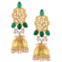 Gold-Plated & Green Handcrafted Jhumkas By Silvermerc Designs