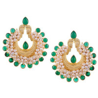 Gold-Plated & Green Handcrafted Circular Chandbalis By Silvermerc Designs