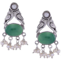 Silver-Toned & Green Circular Studs By Silvermerc Designs