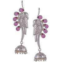 Silver-Plated & Pink Handcrafted Peacock Shaped Jhumkas By Silvermerc Designs