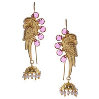 Gold-Plated & Pink Handcrafted Peacock Shaped Jhumkas By Silvermerc Designs