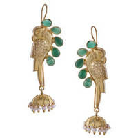 Gold-Plated & Green Peacock Shaped Handcrafted Drop Earrings By Silvermerc Designs