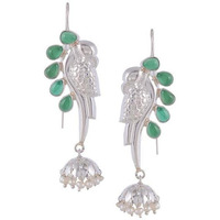 Silver-Plated & Green Peacock Shaped Handcrafted Jhumkas By Silvermerc Designs