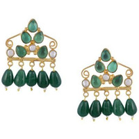 Gold-Plated & Green Contemporary Handcrafted Drop Earrings By Silvermerc Designs
