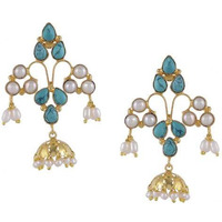 Gold-Plated & Green Handcrafted Circular Jhumkas By Silvermerc Designs