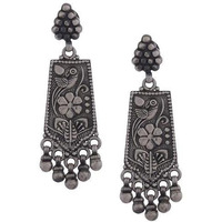 Silver-Plated Oxidised Classic Drop Earrings By Silvermerc Designs