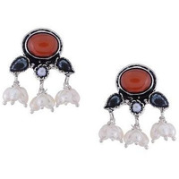 Silver-Plated & Orange Oxidised Classic Studs By Silvermerc Designs