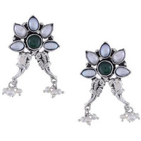 Silver-Plated & Green Floral Drop Earrings By Silvermerc Designs