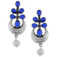 Silver-Plated & Blue Classic Drop Earrings By Silvermerc Designs