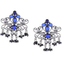 Silver-Plated Blue Classic Drop Earrings By Silvermerc Designs