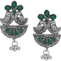 Classic & Green Turquoise & Silver Detailing Floral Design Studs Earrings By Silvermerc Designs