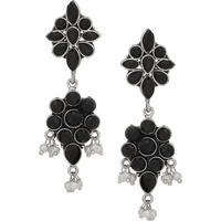 Beautiful Floral Design & Black Turquoise & Pearls Drop Earrigns By Silvermerc Designs