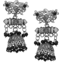 Beautiful Oxidised, Black Beads Round  Shape Jhumka Earrings By Silvermerc Designs