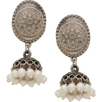 Classic Fresh Water Pearls & Silver Detaing Jhumka Earrings By Silvermerc Designs