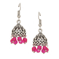 Beautiful Silver & Pink Beads Jhumka Earrings By Silvermerc Designs