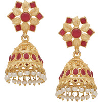 Beautiful Red Turquoise & Fresh Water Pearls Gold Tone Jhumka Earrings By Silvermerc Designs