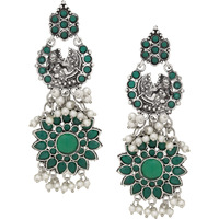 Classic Green Turquoise & Fresh Water Pearls Floral Design Drop Earrings By Silvermerc Designs