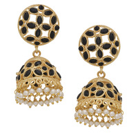 Classic Black Turquoise & Pearls Gold Plated Jhumka Earrings  By Silvermerc Designs
