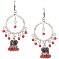 Silver Plated & Red Beads Beautiful Jhumka Earrings By Silvermerc Designs