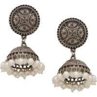 Beautiful Silver Plated & Fresh Water Pearls Jhumka Earrings By Silvermerc Designs