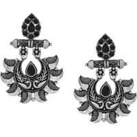 Classic Floral Designs Silver  Plated Drop Earrings By Silvermerc Designs