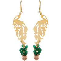 Beautiful Design, Green Oynx Gold Plated Drop Earrings By Silvermerc Designs